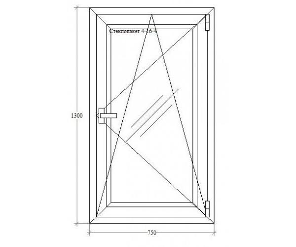 Одинарне вікно з відкриванням-нахилом Aluplast 5-ти кам. Roto