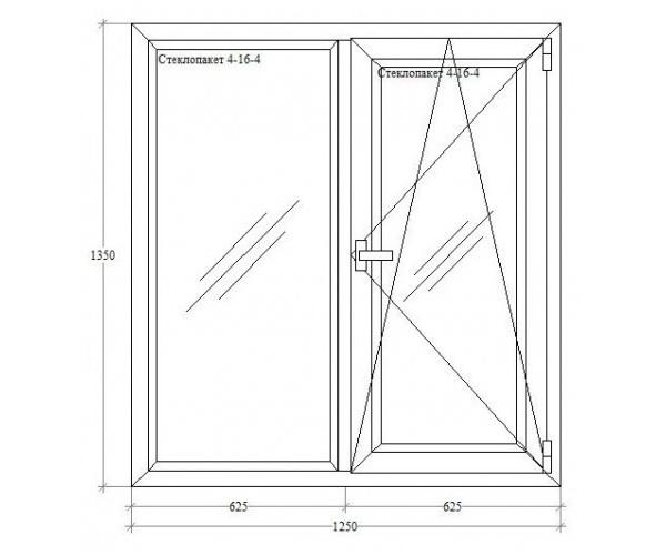 Подвійне вікно з відкриванням-нахилом Viknaland 4-кам. Ассado