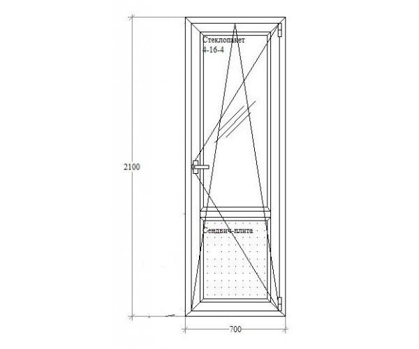 Балконні двері з відкриванням-нахилом Viknaland 4-камерний.