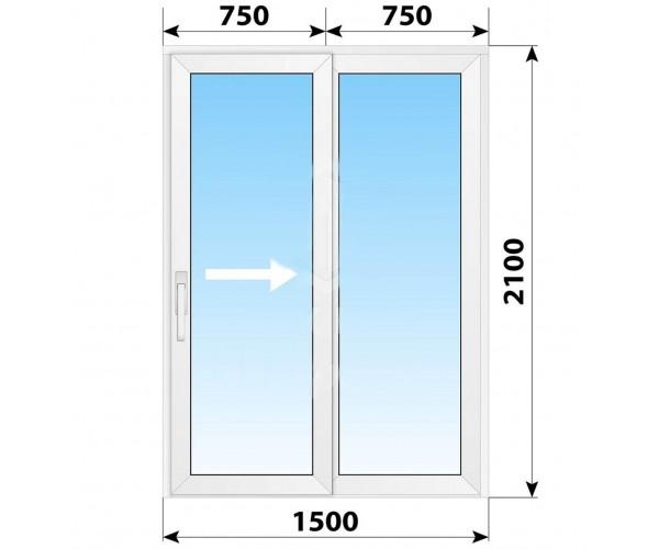 Пластикові розсувні двері 1500x2100