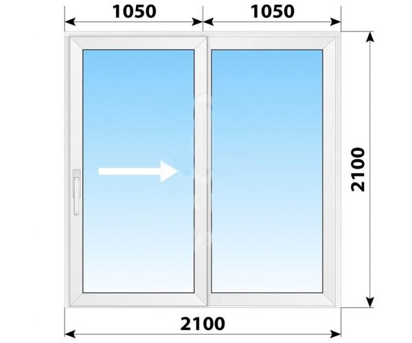 Пластикові розсувні двері 2100x2100