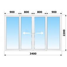 Пластикові розсувні двері 3400x2200