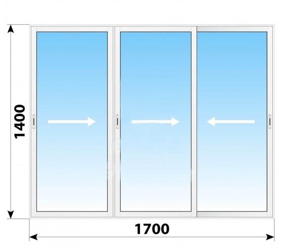 Пластикове розсувне вікно 1700 х 1400