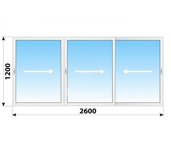 Пластикове розсувне вікно 2600 х 1200