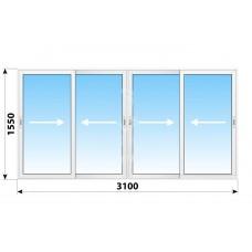 Пластикове розсувне вікно 3100 х 1550