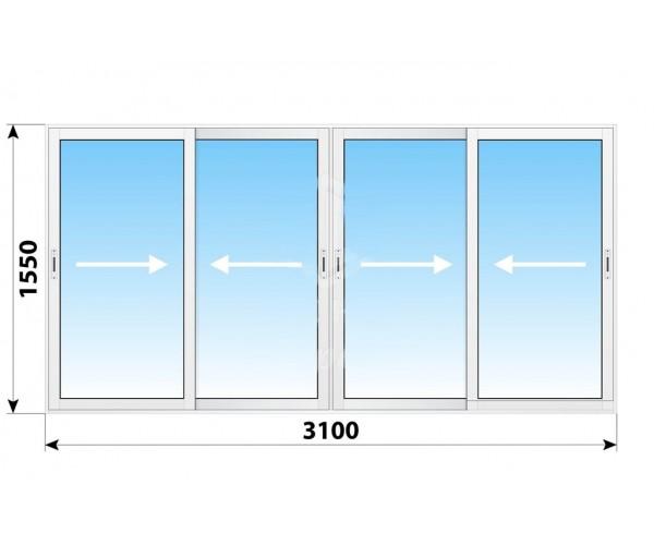 Алюмінієве розсувне вікно 3100 х 1550