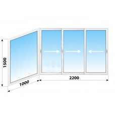Пластикове розсувне вікно 3200 х 1500