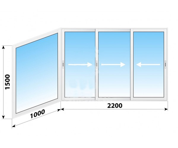 Алюмінієве розсувне вікно 3200 х 1500